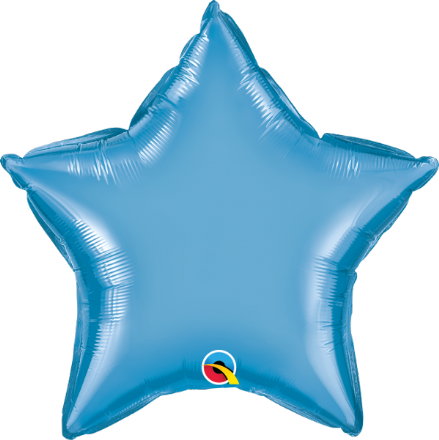 Star Shaped Blue Chrome Foil Helium Balloon